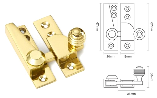 67mm Reeded Knob Sash Fastener