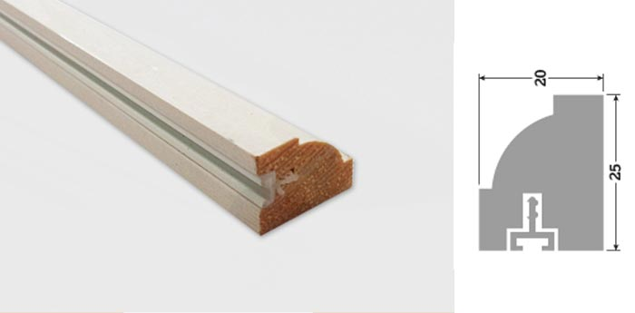 25mm x 20mm 3m Cliveden Timber Staff Bead Primed (25 Lengths)