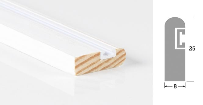 25mm  x 8mm 3m Timber Parting Bead Primed (Single Length)