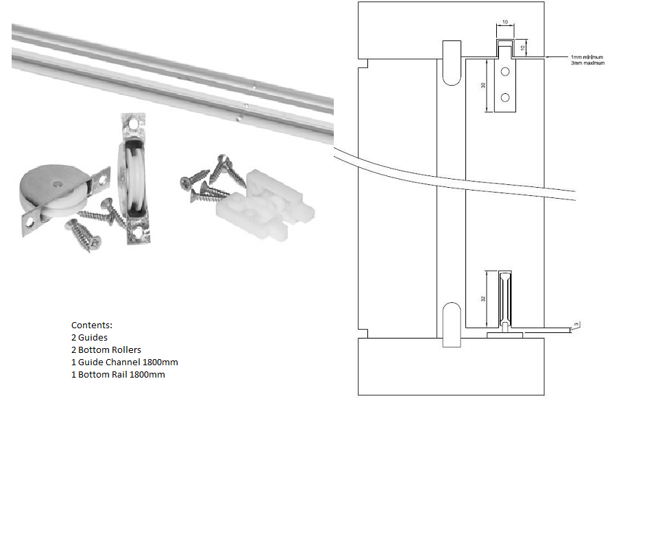 Yorkshire Sliding Sash Window Gear (1800mm) Includes Guides, Rollers, Channel and Rail.